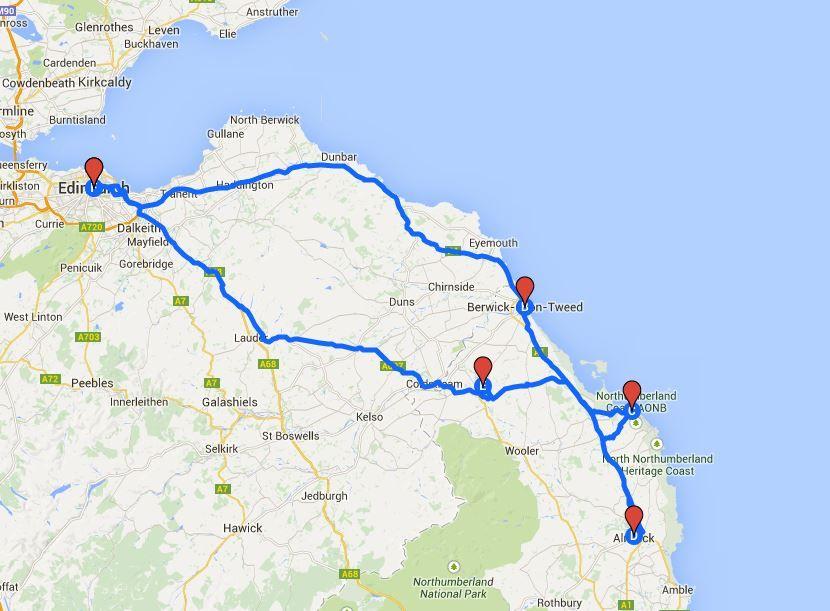Mapa de la ruta en coche de Harry Potter y castillos de Inglaterra