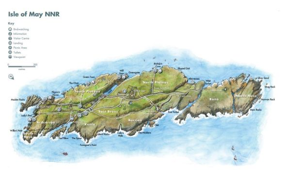Mapa de la Isla de May en Escocia