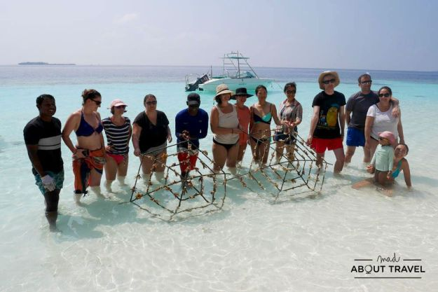 plantar coral en el resort angsana ihuru de maldivas