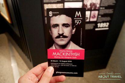 ruta de mackintosh Glasgow: exposicion 150 aniversario