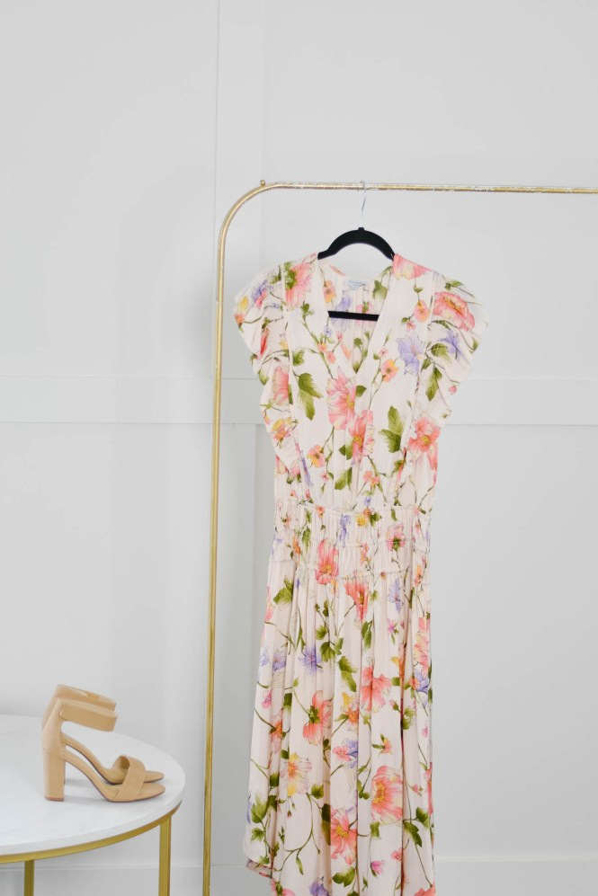 peach floral dress with block heels