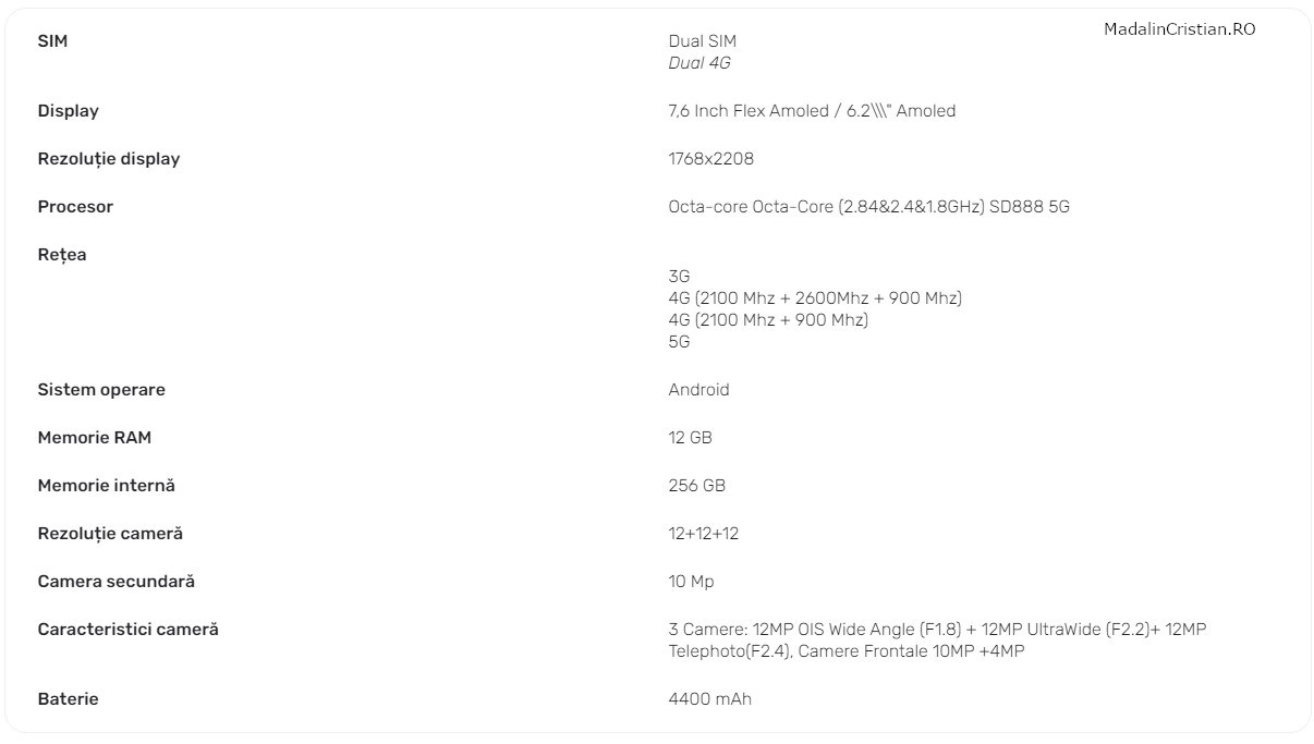 Samsung Galaxy Z Fold 3 VoLTE specs