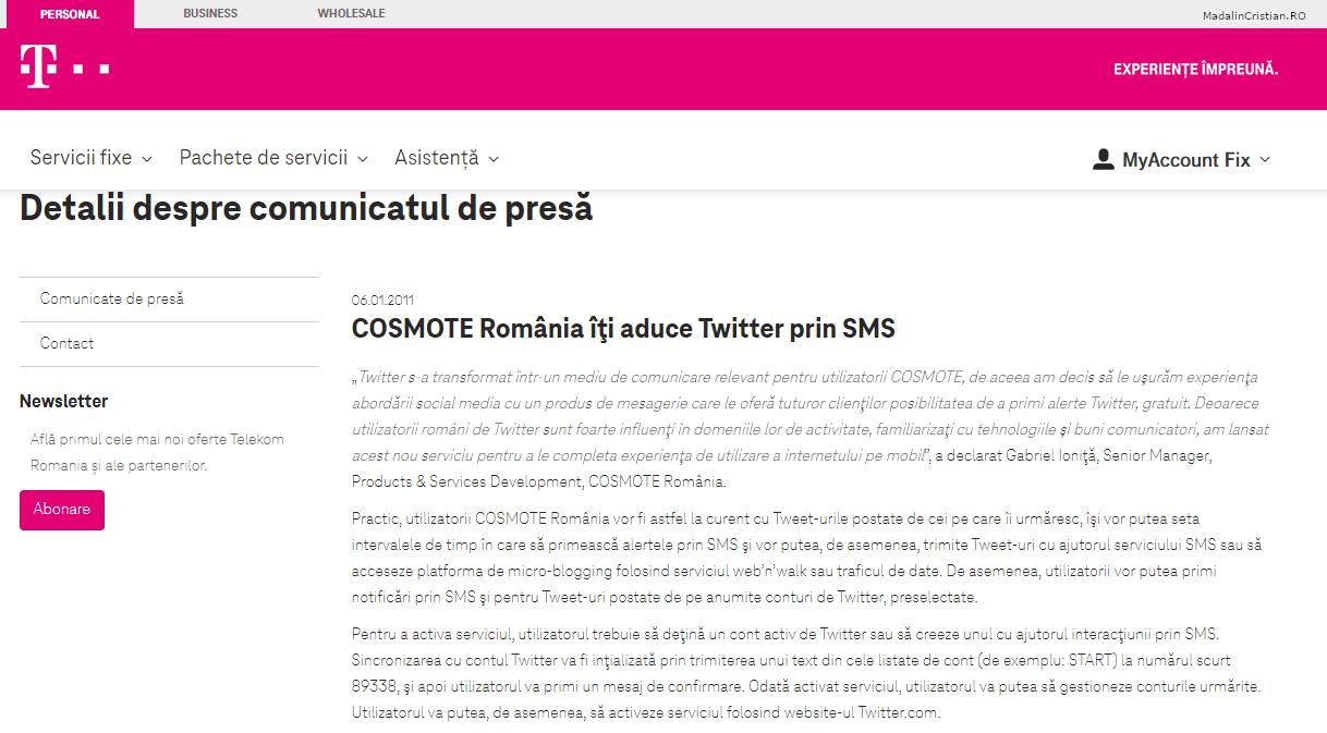 Comunicat de presa Telekom 06.01.2011 COSMOTE Romania iti aduce Twitter prin SMS
