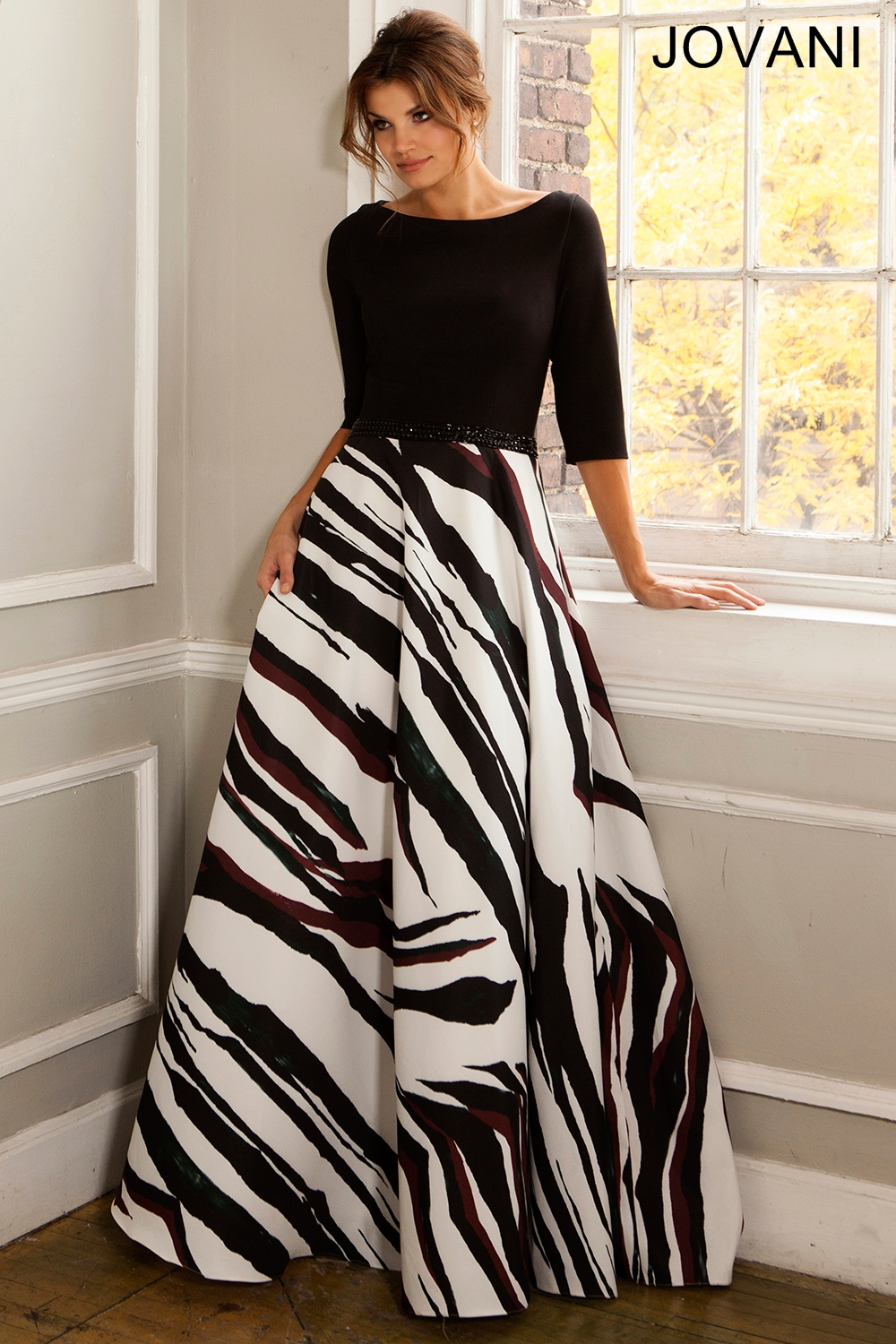 Jovani 21858 Evening Dress Zebra Print Skirt