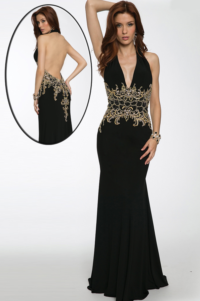 Jovani 98692 Halter Neck Open Back Gold Beaded Waist  MadameBridalcom
