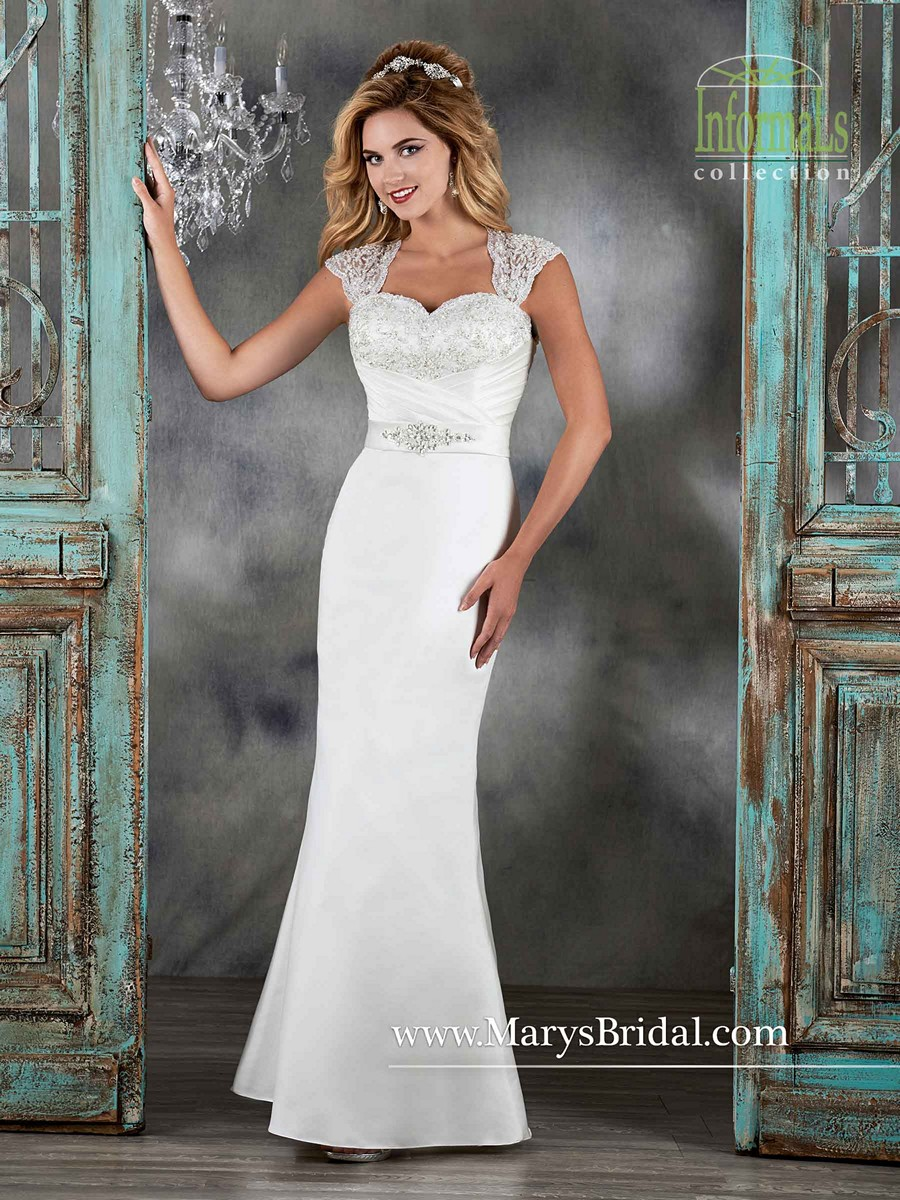 Marys Bridal 2579 Satin Queen Anne Neckline Cutout Back Dress  MadameBridalcom