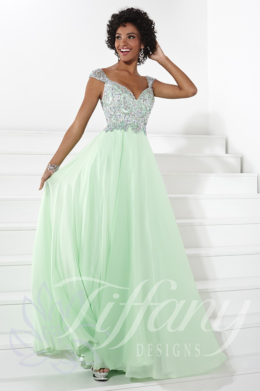 Tiffany Designs 16085 A Line Skirt Portrait Neckline