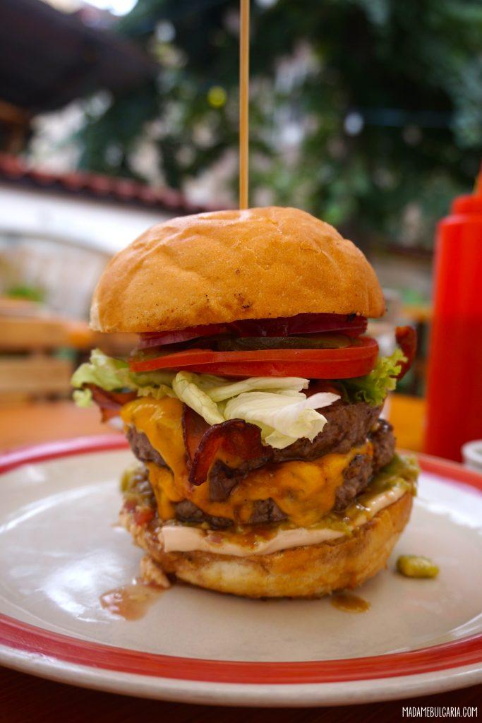 Double Cheeseburger - Smuggler's Diner, Sofia, Bulgaria