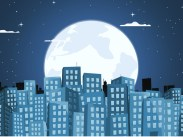 Featured image of AU CLAIR DE LA LUNE - Introduction & List 1 post, bright full moon behind a city skyline of buildings