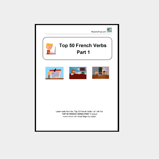 Cover of TOP 50 FRENCH VERBS PART 1 Study Pack