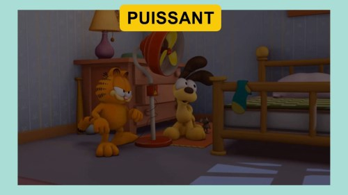 French Video Vocabulary FVV #31 PUISSANT Image: Garfiled - Chair de poule