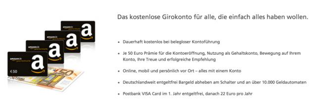Girokonto Postbank 250 Euro
