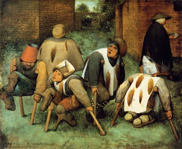 ---It is because of Bruegel's vision that the present-day observer finds it interesting. The artist sees the people not in God's image but as imperfect beings, the dust of the ground from which they were created characterizing them more than the divine breath which was breathed into it. Bruegel is demonstrating even more clearly than usual that the difference between man and animal is by no means as great as one might think. In taking the cripples' legs, he has stripped them of their means of walking upright. This has nothing to do with resignation; indeed, it seems more of a matter-of-fact observation. Nor is there any sense of sympathy; evidently this was relatively uncommon in the 16th century, there being simply too many beggars in the streets and in front of the churches. And anyway, Bruegel's concern was not so much with the beggars as such, of course, as with beggars as representatives, whether of social groups or of a specific conception of man.---click image for source...