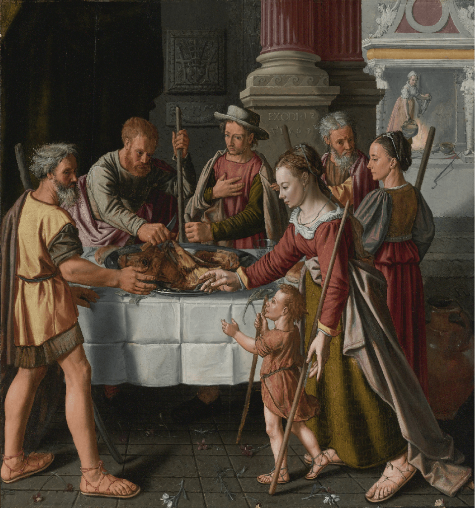 --- The First Passover Feast by Huybrecht Beuckelaer, 1563 This painting by Huybrecht Beuckelaer from 1563 is an early depiction of a biblical scene from Exodus 12. It is not meant to show a contemporary 16th century Passover Seder.---click image for source...