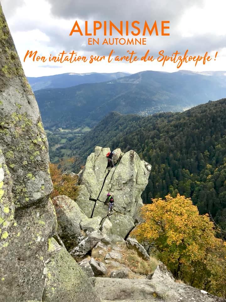 initiation à l'alpinisme sur l'arete du spitzkoepfe avec les caf girls grand est
