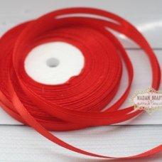 Лента атласная цвет красный (бабина)