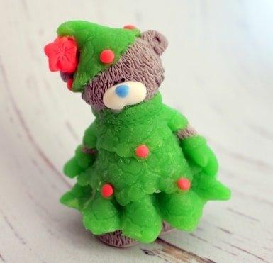 Мыло ручной работы Мишка в костюме Ёлочки