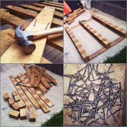 One wooden pallet and 2 hours long breaking down process.