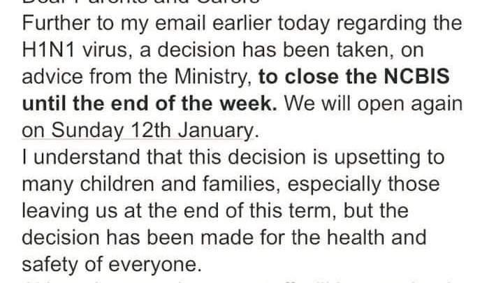 غلق المدرسة البريطانية الدولية بسبب انفلونزا الخنازير