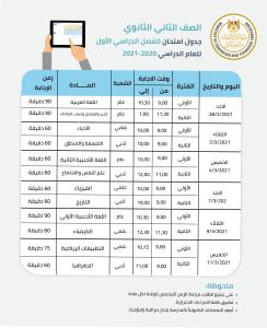 تعرف على جدول امتحانات الصف الثاني (الفصل الدراسي الأول)