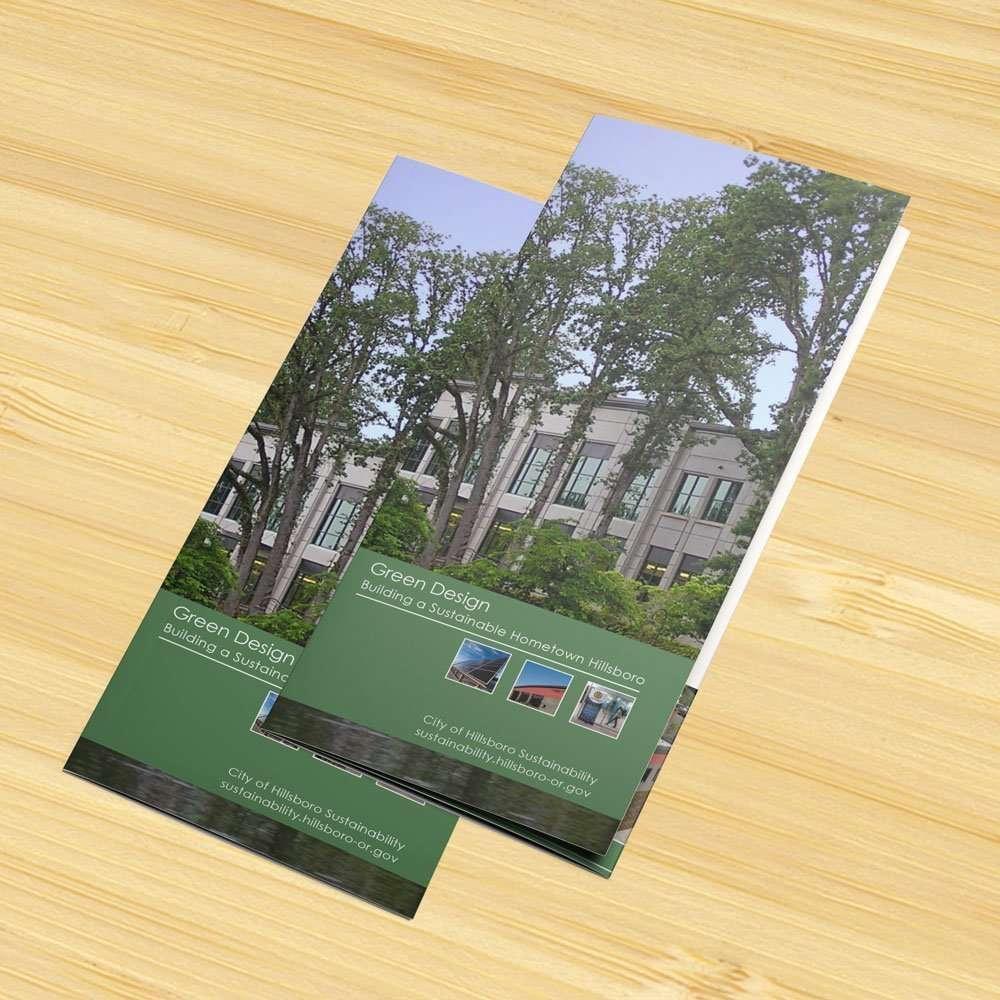 Green Design cover: tri-fold brochure