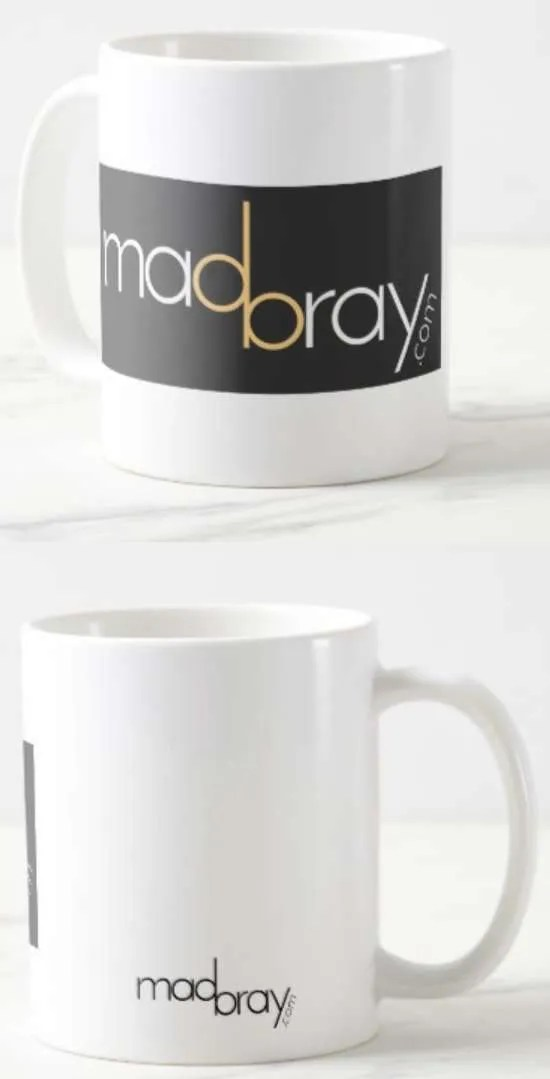 front and back view of madbray.com coffee mug
