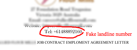 Check company landline