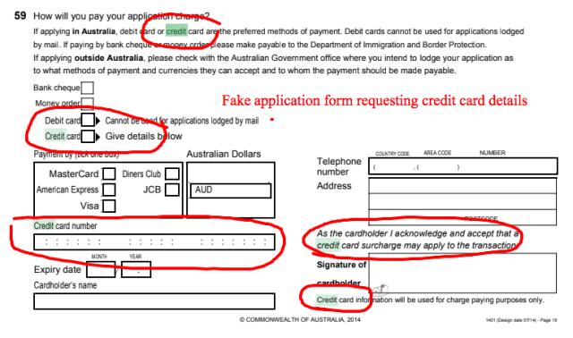 Fake job application form