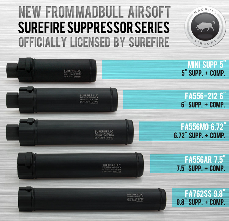 Surefire Airsoft suppressor FA762SS 98 Discontinued