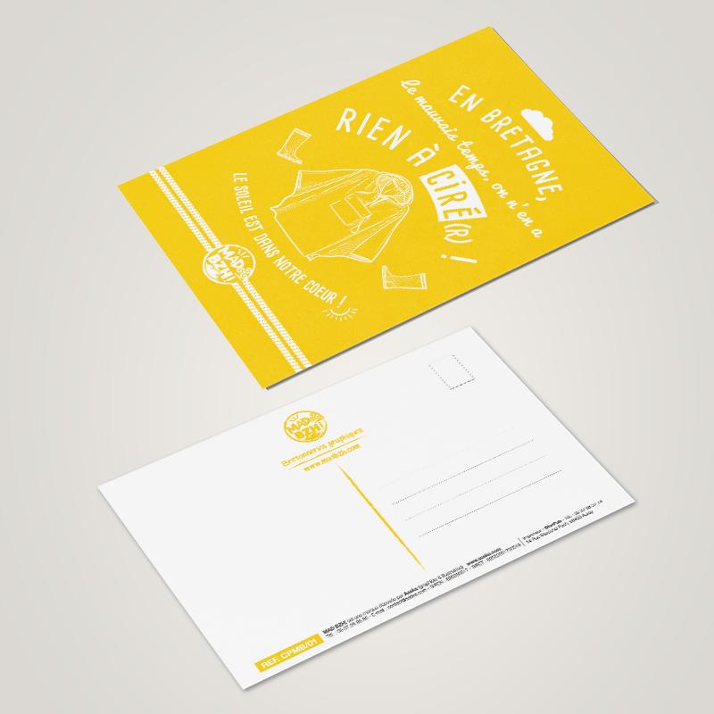 carte postale MAD BZH ciré jaune