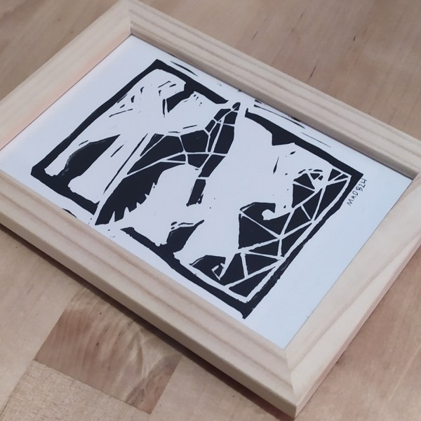 cadre- mad-bzh-linogravure-mouette-paysage-nature