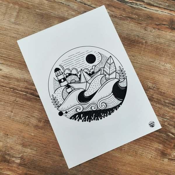 mad-bzh-rond-illustration-marine-produits-bretons-cadre-noir
