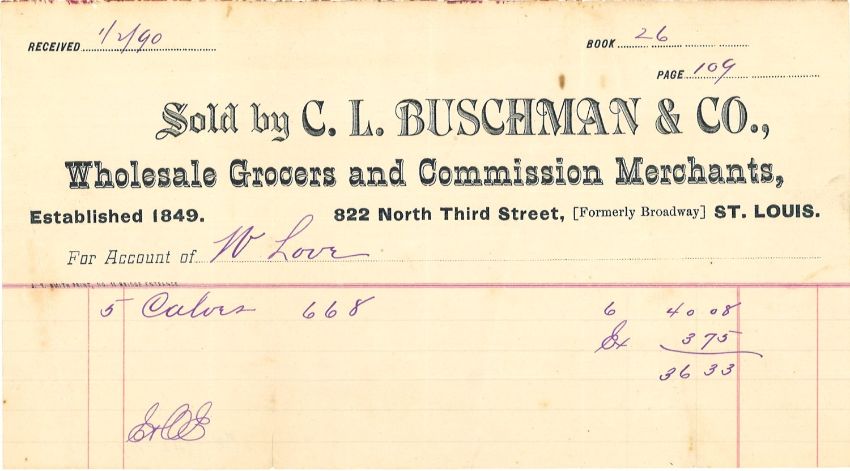 cattle sale receipt, 1890