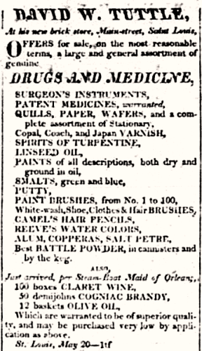 Newspaper advertisement 1819