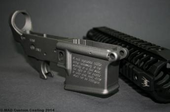 2A engraved Ar15 lower cerakoted in Tungsten