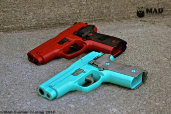 Pair of Sig P228 in Cerakote Crimson & Black and Tiffany Blue & Gun Metal Grey
