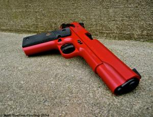 ATI 1911 .22 in Cerakote Smith & Wesson Red & Graphite Black