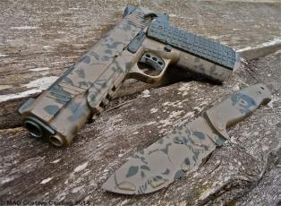 Kimber 1911 & Matching knife in 2 color skull pattern w/ Magpul FDE & Magpul OD