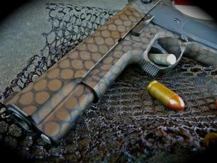 Smith & Wesson .45 in a net pattern using Graphite Black & Burnt Bronze Cerakote