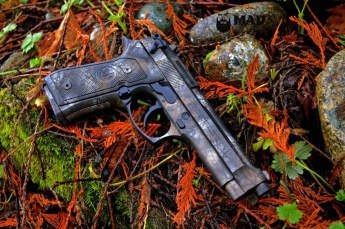 MAD Brush Camo on a Beretta 92 - Black, Burnt Bronze and Shimmer Gold Cerakote