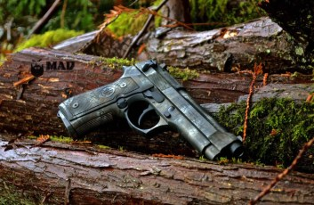 Beretta 92 in 3 color MAD Brush Camo Cerakote