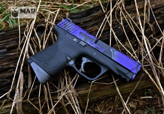 M&P 9 in 3 color Cerakote MAD Dragon: Purple, Tungsten and Black