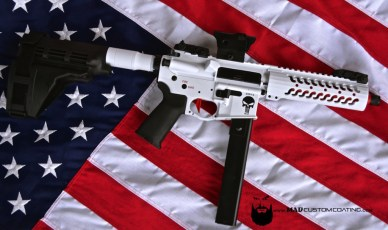 Chris Kyle Memorial AR45 in Bright White & MAD Black w/Barrel and Trigger in USMC Red