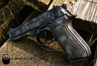 MAD Brush Camo on a Beretta 92 in MAD Black, Burnt Bronze & Shimmer Gold