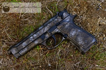 MAD Brush Camo on a Beretta 92 using MAD Black, Burnt Bronze & Shimmer Gold