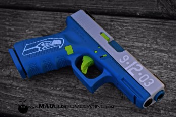 Themed Glock 19 in Zombie Green, Sky Blue & Battleship Grey