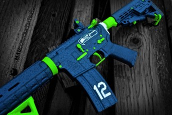 Themed on a Del-Ton AR15 in MAD Blue, Zombie Green and Battleship Grey