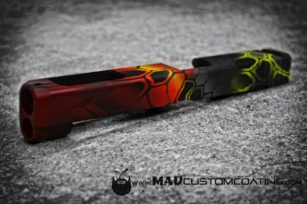 MAD Dragon Camo on a Glock slide in Crimson, Corvette Yellow, Sniper Grey, Smith's Grey & Black