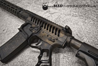 War Torn on an F1 Firearms AR15 in Burnt Bronze & Black w/ Hexmag and Tactical Dynamics Grip