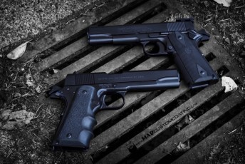 MAD Black on 2 Colt 1911 handguns